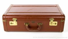 "Rare Vintage 1940s GOLD BOND 21"" Brown Leather Suitcase Luggage Train Case VGC #GOLDBOND"