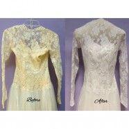 Lace Vintage Wedding Gown Restoration a Success