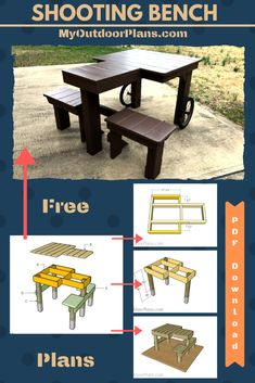 This step by step diy woodworking project is about free shooting bench plans. This article features detailed instructions for building a double shooting bench from basic materials. Outdoor Shooting Range, Shooting Table, Shooting Rest, Shooting Guns, Woodworking Projects Diy, Woodworking Plans, Shooting Bench Plans, Portable Shooting Bench, Deer Blind Plans