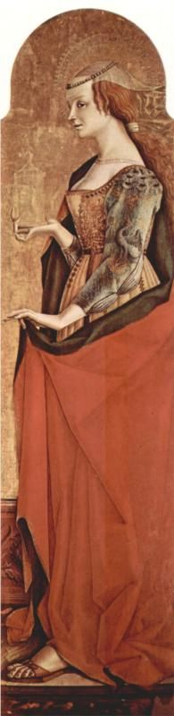 I've always loved the sleeves on this,  but seeing the whole thing is what made my red velvet Burgundian into a red velvet Italian, hehe.  (Saint Mary Magdalene, 1470  Carlo Crivelli )