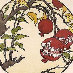 "Yoshiko Yamamoto: block print  ""Pomegranates,"" not dated"