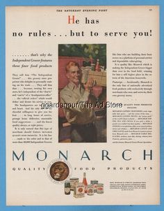 1928 Monarch Food Products Coffee Reid Murdoch delivery man Frank Bensing Ad