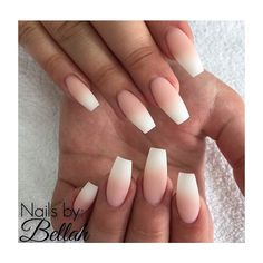 ee coffin nails ombre french acrylic french tip nails French Fade Nails, Faded Nails, Matte Nails, Ombre French Nails, Acrylic Nails Coffin Ombre, Love Nails, How To Do Nails, Pretty Nails, My Nails