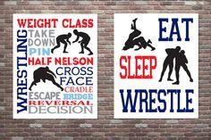 Wrestling Poster Wrestling Typography Poster by CottageArtShoppe