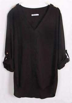 Black Plain Sequin V-neck Long Sleeve Chiffon Blouse