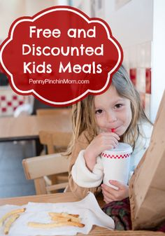 Here's a great list of discounted and free kids meals at your favorite restaurants! www.pennypinchinmom.com #freemeals #kidseatfree