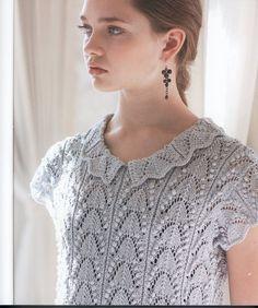 japanese knitting lady lace short sleeve sweater