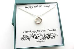 Sterling Silver Four Ring Necklace. 40th Birthday Gift for Women Necklace with a birthstone-- http://etsy.me/2kvl8Se Earrings that go nicely-- http://etsy.me/2hWsRYH Necklace in Gold-- http://etsy.me/2gvLbnK Necklace in Rose Gold-- http://etsy.me/2l8obA1 This beautiful handcrafted