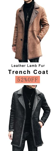 ab54450d1b9 Free Shipping Charmkpr Mens Mid Long Winter Faux Chamois Leather Lamb Fur  Trench Coat Thick Warm Suede Jacket