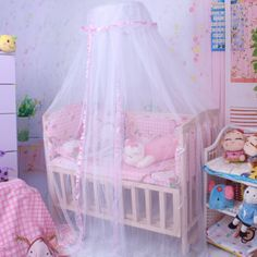 Baby Crib Mosquito Net Tent Infant Bed Canopy Crib Netting Stand Kids Baby Bed Accessories Hung Dome Floor White Net