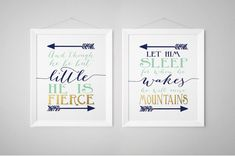 Nursery Print Set, Fierce, Mountains Shakespeare, And though he be but little, Let him sleep, Prints, wall art, Navy Gold Mint - Boy nursery by StorybirdPrints on Etsy  Available in many sizes. 8x10 is $24.99