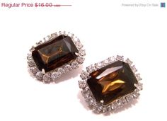 Vintage Brown Topaz and Rhinestone Earrings by JewelsAndMyGirls3, $11.20