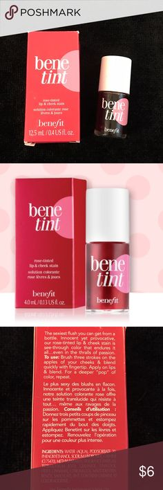 Benefit Benetint Lip & Cheek Stain Our original rose-tinted stain is kiss-proof, see-through color for lips & cheeks that lasts for hours. Originally created for an exotic dancer in the 1970s, benetint has soared to cult fave status. It's loved by celebs, makeup artists and gals around the world.  Sheer & sexy on all complexions Innocent yet provocative Long-lasting wear Benefit Makeup Lip Balm & Gloss