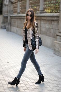 Sequin blazers + skinny jeans + Ankle Boots