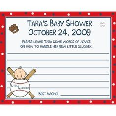24 Baby Shower Advice Cards Personalized  Baseball Little Slugger Theme. For my baby shower.. boy or girl I don't care.. lol