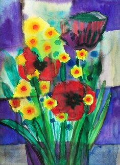 """""""Bouquet with poppies"""", watercolour on paper, 30 x 40 cm Watercolour, Poppies, Paintings, Paper, Poppy Bouquet, Painting Art, Pen And Wash, Watercolor Painting, Paint"""
