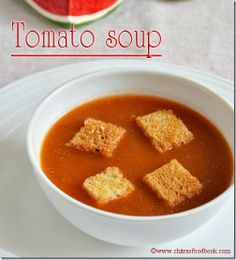 TOMATO SOUP RECIPE WITH BREAD CROUTONS - EASY N QUICK RECIPE