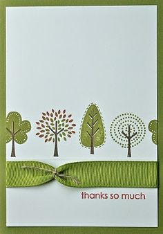 clean and simple card with fantasy trees...luv the ribbon treatment on this card...Stampin' Up!