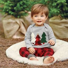 Kids Baby Boy Long Sleeve Christmas Clothes Set T-shirt+Plaid Pants 2PCS Outfits