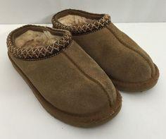 Ugg Slippers Mules 12 Girls Chestnut Tasman Brown Sheepskin Shearling Shoes #UGGAustralia #Slippers