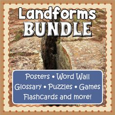 Save big and cover all your landform vocabulary needs with one giant bundle.  You will find included a lot of resources here (bingo, flashcards, glossary, posters, games, puzzles and word wall cards) so you can approach the subject from different angles. Fun Activities For Kids, Worksheets For Kids, Google Play, Printable Puzzles, Crossword Puzzles, Computer Station, Bingo Board, Interactive Whiteboard, Memory Games
