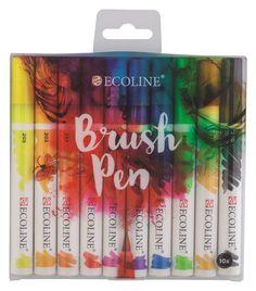 Ecoline brush pen. Deze nieuwe brushpen is zeer vriendelijk in gebruik. Handig voor onderweg en is ook nog eens geurloos. Je gebruikt de Brush Pen voor dunne precieze lijnen of voor energieke streken, maar ook voor het vullen van grote kleurvlakken. De kleuren zijn exacte hetzelfde als flesjes ecoline van Talens. Met de speciale Brush Pen blender kunnen kleuren worden gemengd of getemd. Ook kun je er prachtige verwassingen en kleurovergangen mee maken. Set met 10 kleuren: 205 citroengeel…