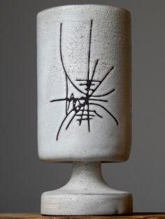 Vintage 60-70 s Abstract Studio Art Vase Chalice German Pottery Art Fat Lava Era