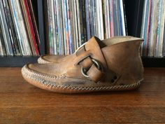 Vintage Mens 1960s Custom Hand Made Leather Hippie MOCCASIN BOOTS Shoes  Size 10.5 11 Boho Southwest 3393aec5ab9