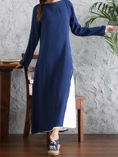 Elegant Color Contrast Patchwork Long Sleeve Fake-Two Piece Maxi Dress at Banggood