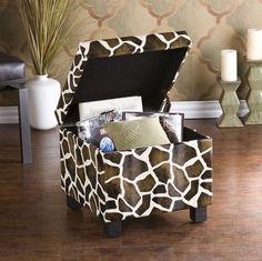 Giraffe Faux Leather Storage Ottoman by Modern Furniture and Decor Essentials on. Safari Room, Safari Living Rooms, My Living Room, Giraffe Bedroom, Giraffe Decor, Giraffe Print, Giraffe Pattern, Blue Matter, Flexible Furniture