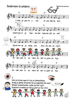 liedje: Rikki - Iedereen is anders met afbeeldingen zo kregen de kleuters het gevoel dat ze de partituur konden lezen