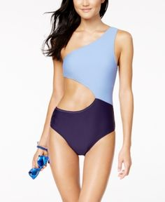 525a9e685afbfb Jessica Simpson Chop and Change Colorblocked Cutout One-Shoulder One-Piece  Swimsuit - Blue