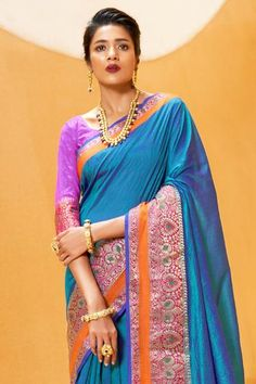 Flax Fiber, Banarasi Sarees, Just Amazing, Cotton Linen, Blouse Designs, Two By Two, Sari, Pure Products, Blue