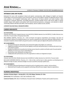 free icu intensive care unit nurse resume example