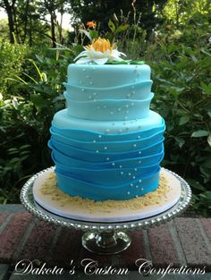 Water Lily Wave Ombre Birthday Cake - *