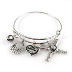 Baseball Bangle Bracelet - Adjustable Silver Jewelry for Moms Fans - - Home, Bracelets, Charms & Charm Bracelets & Charm Bracelets Silver Bracelets, Bangle Bracelets, Silver Earrings, Silver Ring, Bangles, 925 Silver, Mom Jewelry, Jewelry Design, Craft Jewelry
