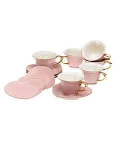 Another great find on #zulily! Pink & Gold 12-Piece Cup & Saucer Set #zulilyfinds