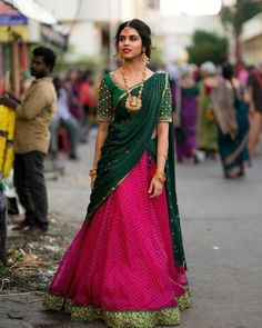 Meenakshi Govindharajan half saree stills - South Indian Actress Lehenga Saree Design, Half Saree Lehenga, Pattu Saree Blouse Designs, Lehnga Dress, Saree Look, Blouse Neck Designs, Lehenga Designs, Lehenga Gown, Lengha Choli