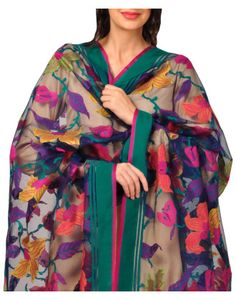 Navy Blue Banarasi Weaved Pure Silk Net Dupatta