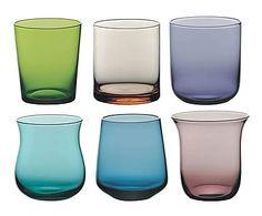 Set de 6 vasos en vidrio Clear - multicolor