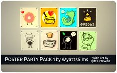Simsworkshop: Poster Party Pack 1 by WyattsSims • Sims 4 Downloads