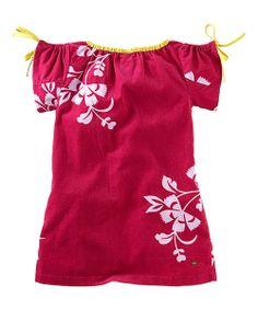 Fuchsia floral dress w pop of yellow