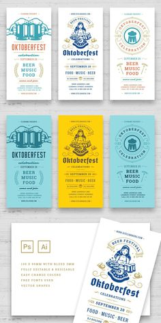 Oktoberfest flyers or banners set vintage typographic design editable templates. Willkommen zum invitations beer festival celebration with objects. Features: • PSD (Photoshop) files • Ai (Illustrator) files – CS2 version • 2 Color themes flyers design • Print ready • 300dpi • CMYK • 210x99mm print size 3mm bleed • Editable text (free fonts used)