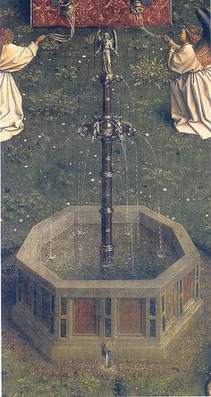 Jan van Eyck, Hubert van Eyck, The Ghent Altarpiece: Adoration of the Lamb, 1425-29, Oil on wood, 137,7 x 242,3 cm Cathedral of St Bavo, Ghent - Fountain
