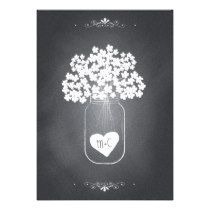 Chalkboard Mason Jar Wedding Invitation with RSVP ... the heart, couples initials, jar, and baby's breathe (or hydrangeas, could be either flower), are all common in rustic weddings. Very cute as invite or save-the-date card ... other chalkboard styles on the page as well.