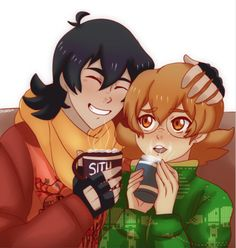 Keith and Pidge drinking hot chocolate for Christmas Holidays from Voltron Legendary Defender