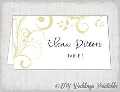 gold place card template scroll name cards by diyweddingsprintable