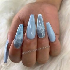 Nail Design Glitter, Cute Acrylic Nail Designs, Marble Nail Designs, Marble Nail Art, Best Acrylic Nails, Summer Acrylic Nails, Black Marble Nails, Nails Design, Blue Nails With Design