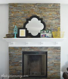 Building Our Fireplace: Installing the Slate Split-Face Tile – Our DIY House | The DIY Mommy