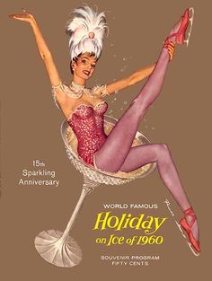 """Holiday On Ice 1960"" pinup girl figure skater by artist Ruskin ""Russ"" Williams."